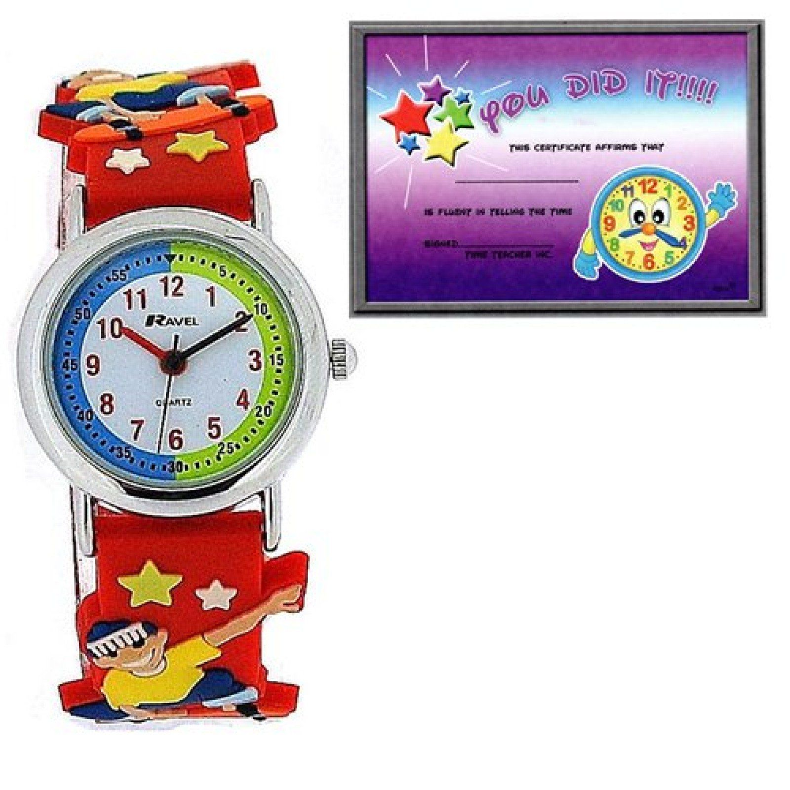 Ravel Time Teacher 3D Skateboarder Design Red Rubber Watch + Telling Time Award. A simple and fun childrens analogue watch by Ravel, this is a no-frills watch that functions to a high capacity, serving any child well for every day use. This watch is an ideal gift for kids. Special Telling Time Achievement Award Certificate included!! Product Features: * Quartz Movement. * Time Teacher Feature. * 3D Skateboarder Design Strap * Soft Red Strap With Skateboarder and sport Images. Strap...