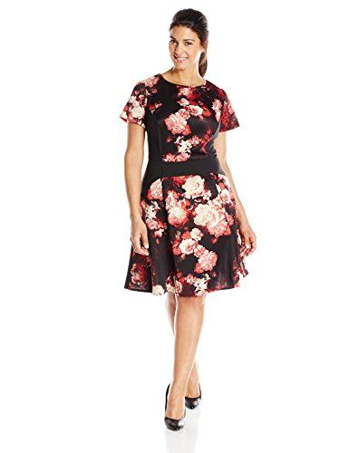 006180b996ddd Adrianna Papell Womens Plus-Size Floral Printed Fit and Flare Dress ...