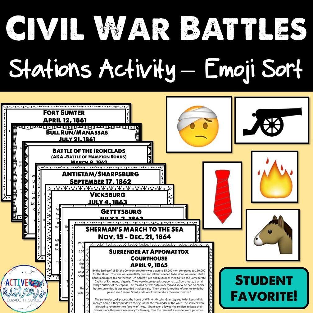 Civil War Battles Hands On Station Activity Emoji Sort