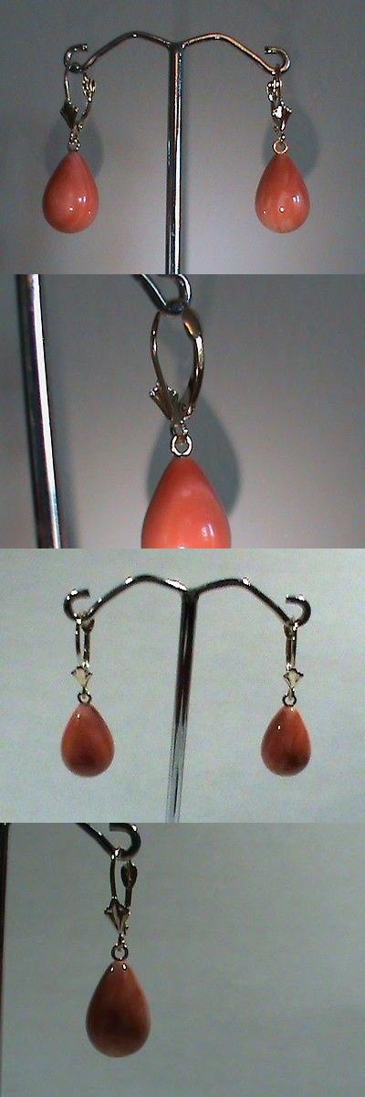 Earrings 14Kt Gold Leverback Earrings W Fat Pink Coral Drops
