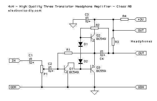 3 Transistor Headphone Amplifier
