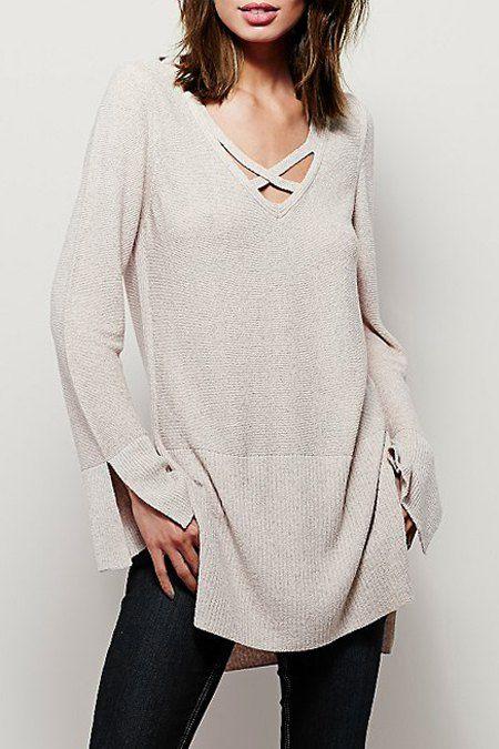 V-Neck Side Slit Sweater Dress