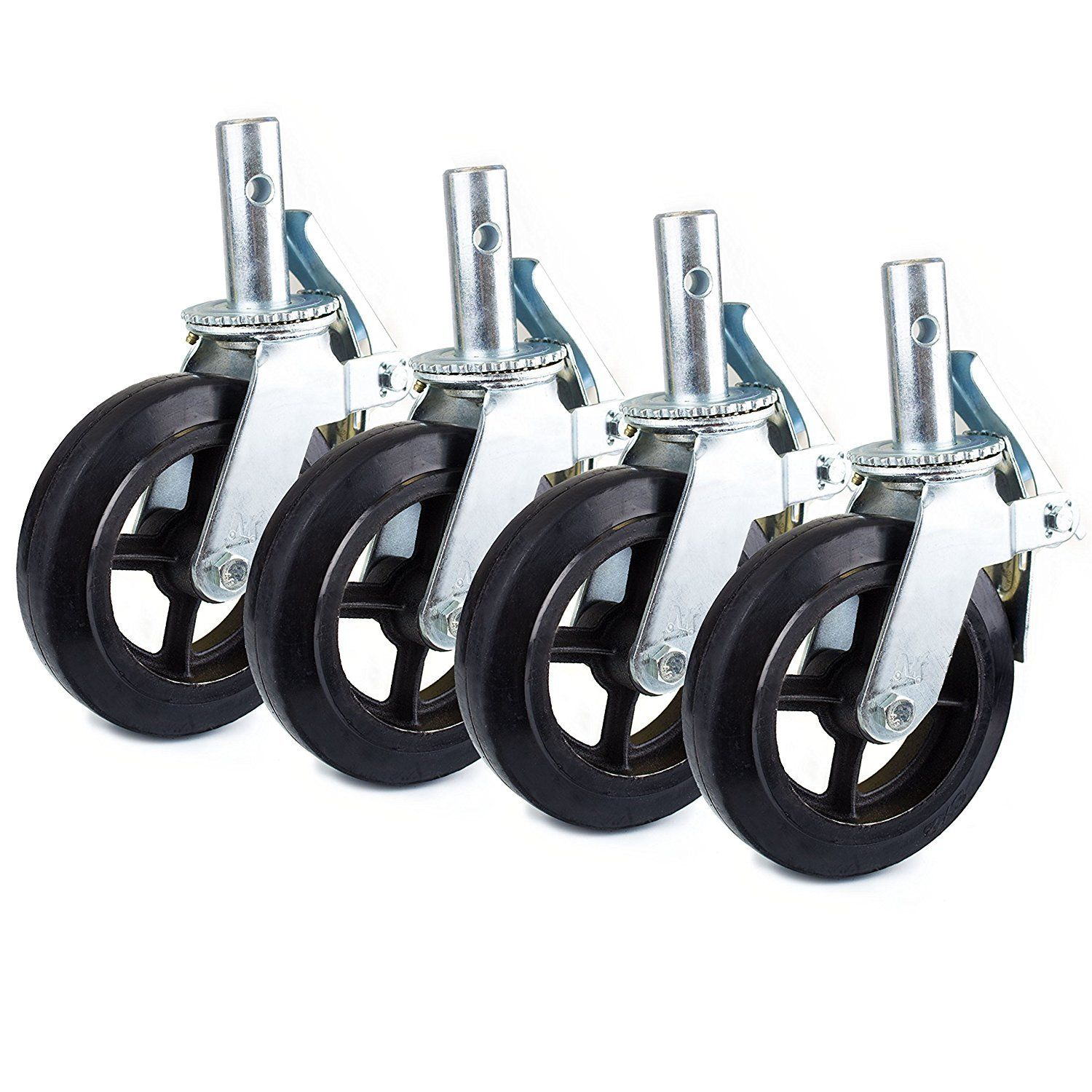 "8 All Steel Swivel Plate Caster 3.5/"" Wheels Heavy Duty High-gauge Steel"