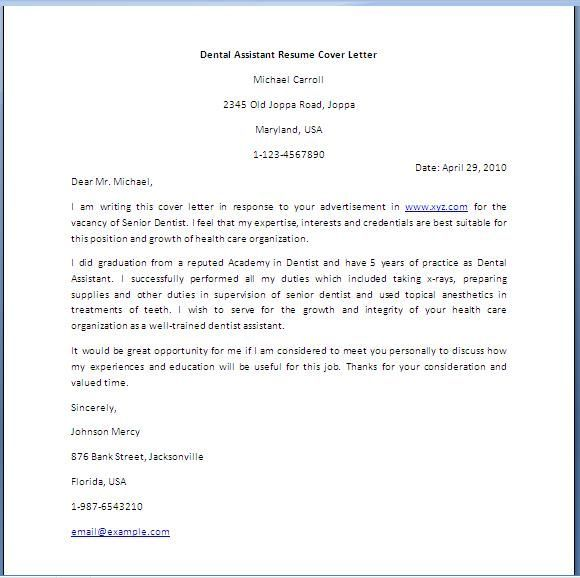 Cover Letter Template Dental Assistant Things to Wear Templi
