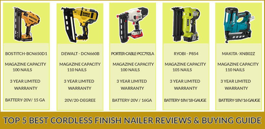 Top 5 Best Cordless Finish Nailer Reviews