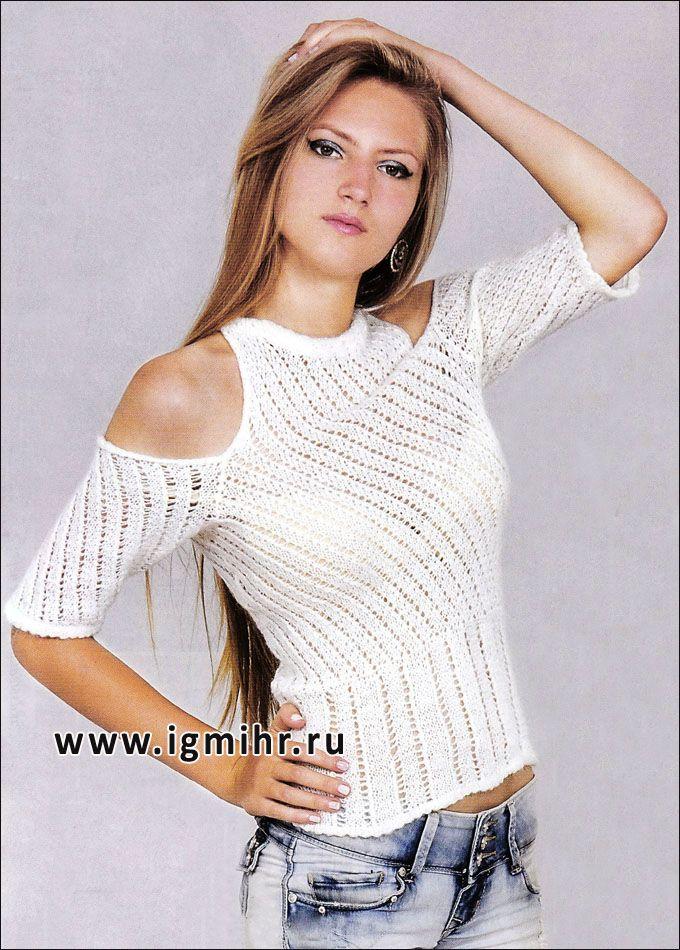a6f008c6a34 Молодежный пуловер с открытыми плечами и диагональными полосами. Спицы