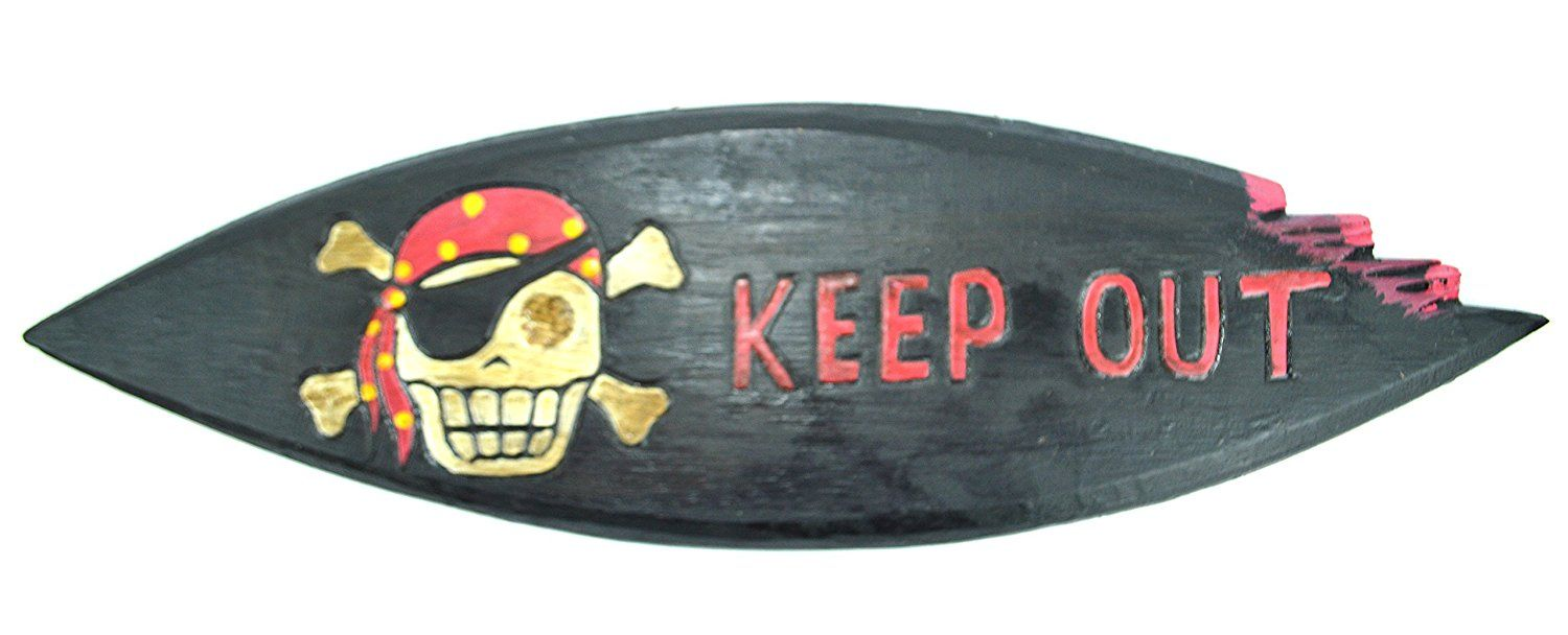 Lg 20 Inch Hand Carved Wood Pirate Skull Cross Bone Keep Out Sign Plaque Wall Art Decor Learn More By Visiting The Image Link
