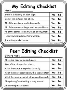 0010 Self and Peer Editing Checklist for Pamphlets Grades 23