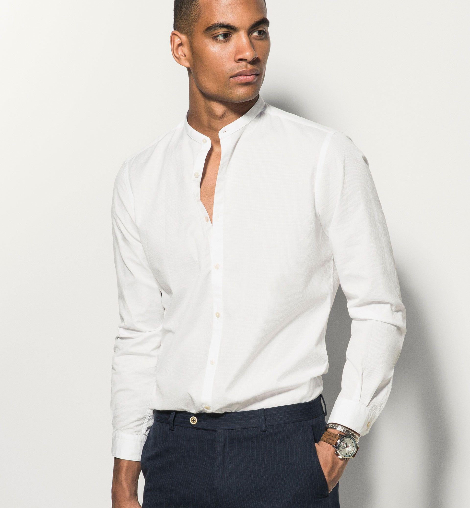 chemise blanche col mao slim chemises white shirt. Black Bedroom Furniture Sets. Home Design Ideas