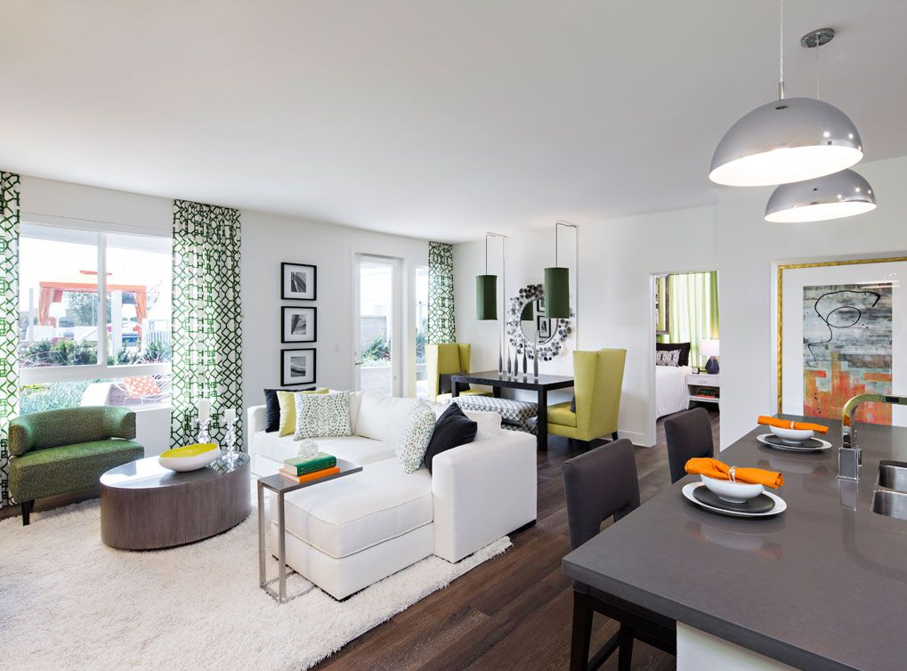 Model Living Room At AMLI Lex On Orange A Luxury Apartment Community In Glendale