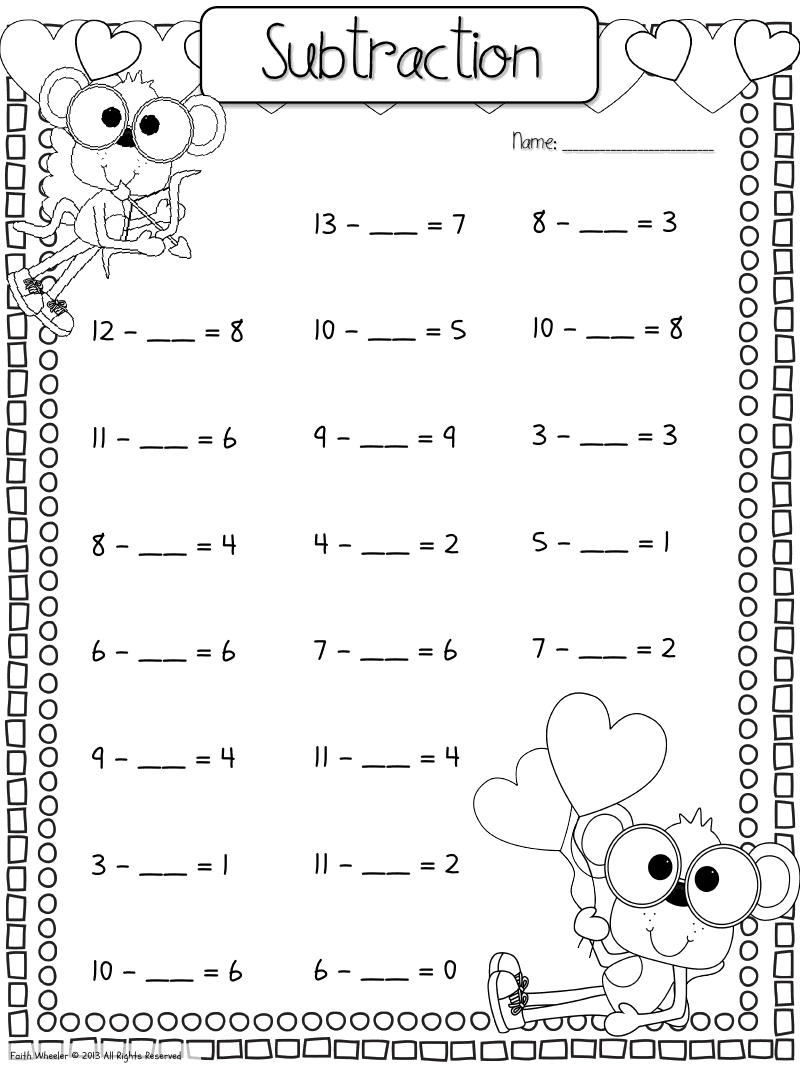hight resolution of fill in the missing number subtraction   Kindergarten math worksheets