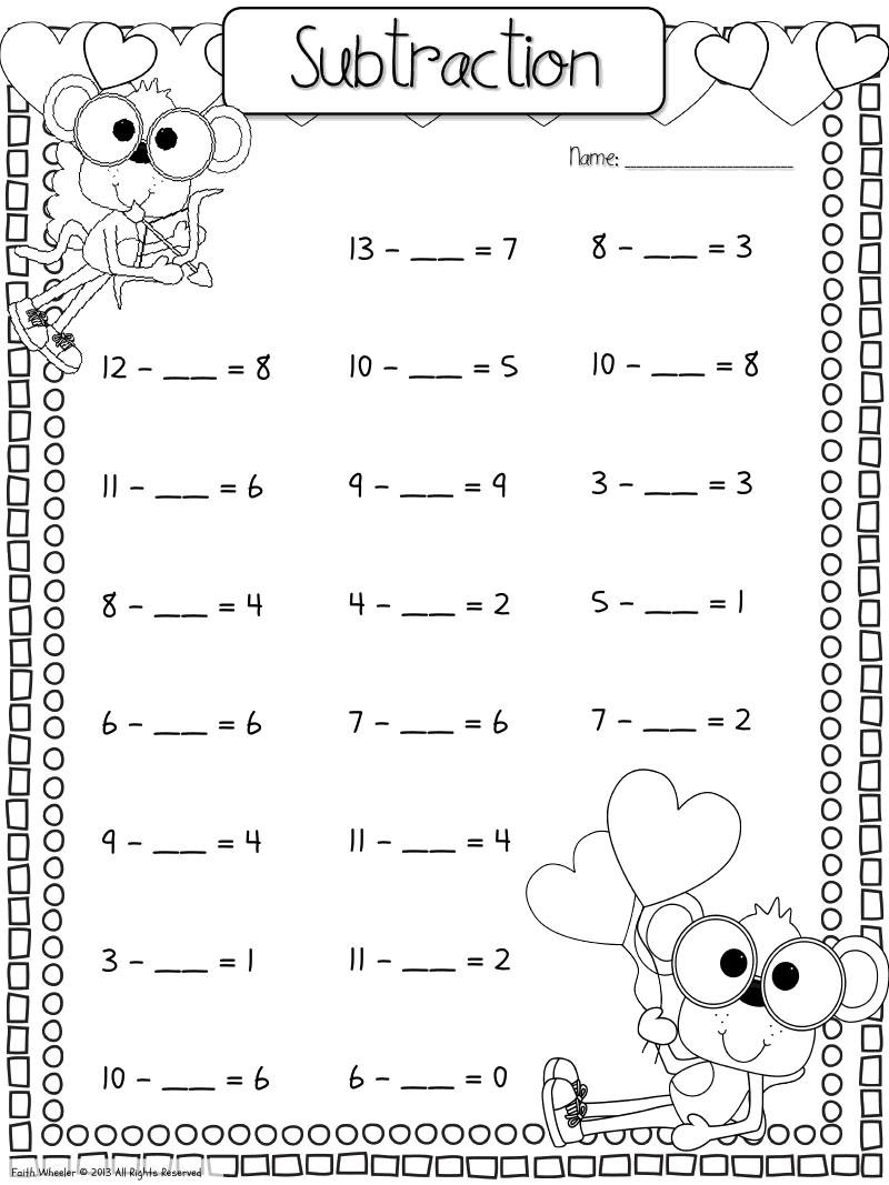 fill in the missing number subtraction   Kindergarten math worksheets [ 1067 x 800 Pixel ]