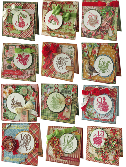 Graphic 45 Gloria Stengel Twelve Days of Christmas card project sheet (at bottom of blog) #graphic45 #projectsheets #tutorials