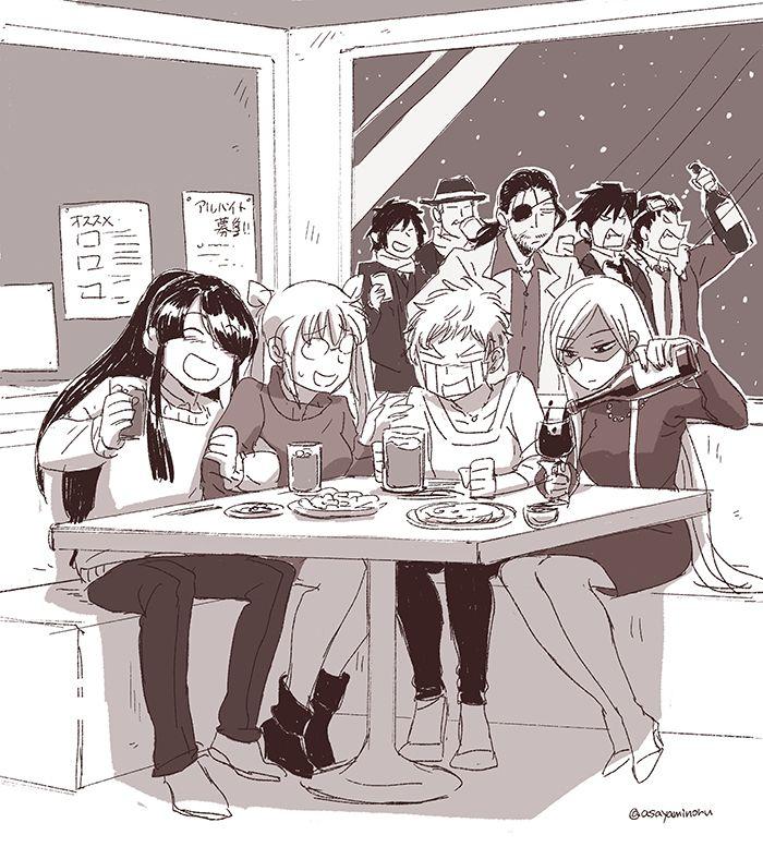 Personajes de Drifters bebiendo! Espera! Aquí hay algo mal