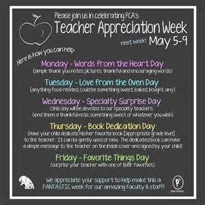 Teacher Appreciation Week Schedule Yahoo Image Search Resul