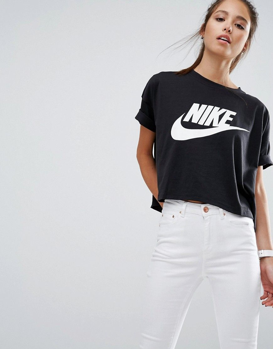Buy it now. Nike Signal Cropped T-Shirt - Black. Top by Nike, Soft-touch jersey, Crew neckline, Dropped shoulders, Front logo print, Cropped length, Relaxed fit, Machine wash, 44% Modal, 42% Cotton, 14% Nylon, Our model wears a UK S/EU S/US XS. ABOUT NIKE Nike dominates the sportswear industry with a fresh, stylish approach to casual apparel. Super cool trainers and hi-tops, lead the bold collection of footwear. Fashion-led collections reference directional detailing, with a punchy, modern…