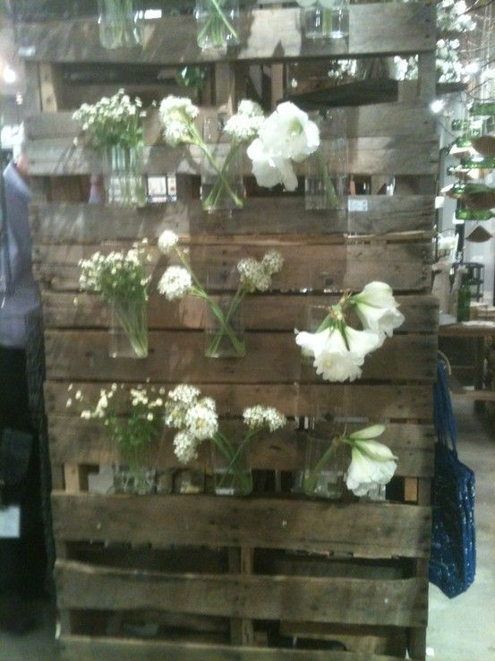 Display flowers on a pallet