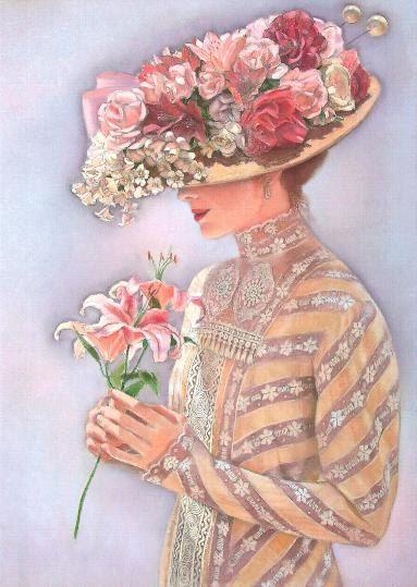 Fashion Portrait Painting romantic Victorian lady lace dress hat flowers Original Pastel Art, Sue Halstenberg