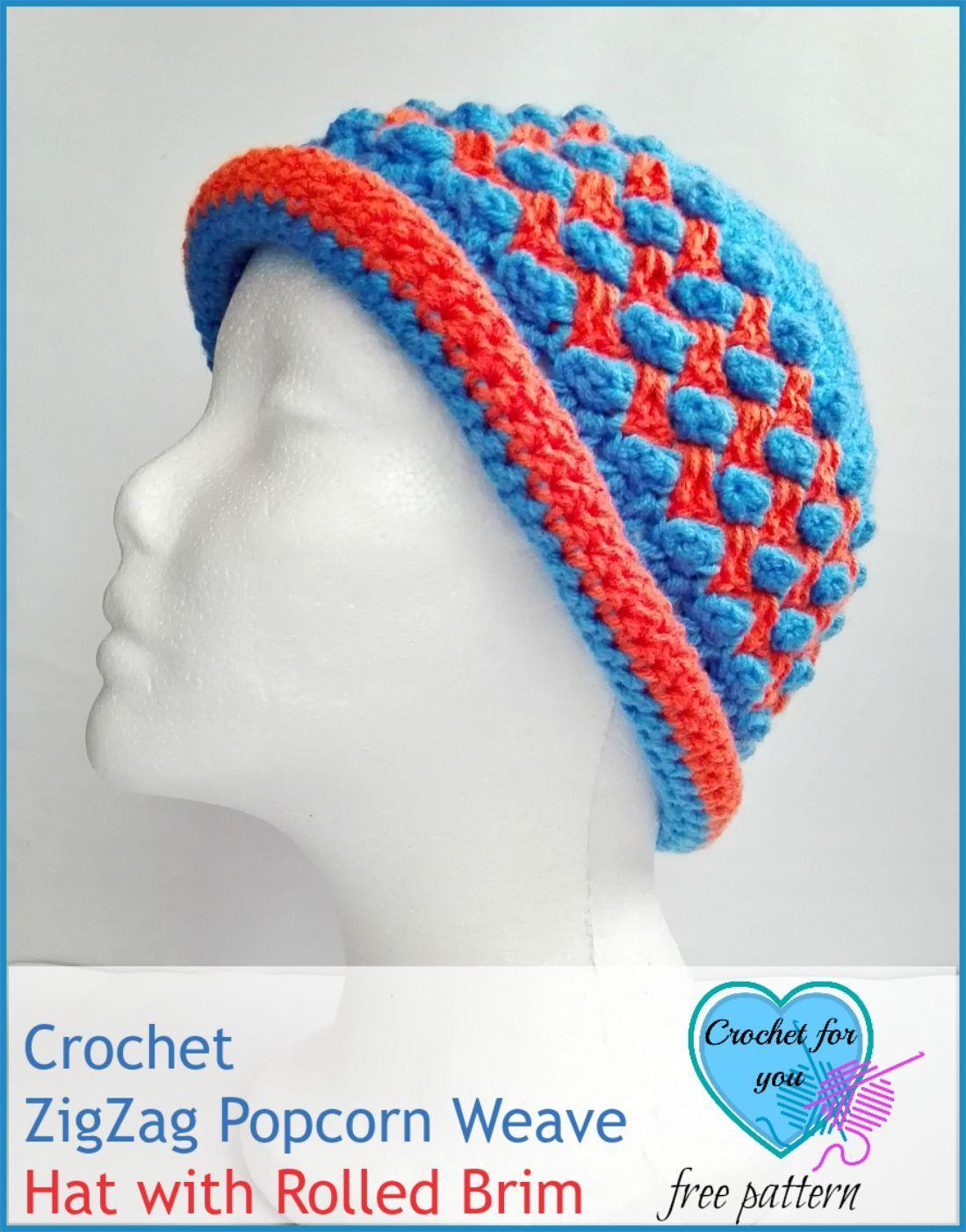 Crochet ZigZag Popcorn Weave Hat with Rolled Brim - free pattern ...