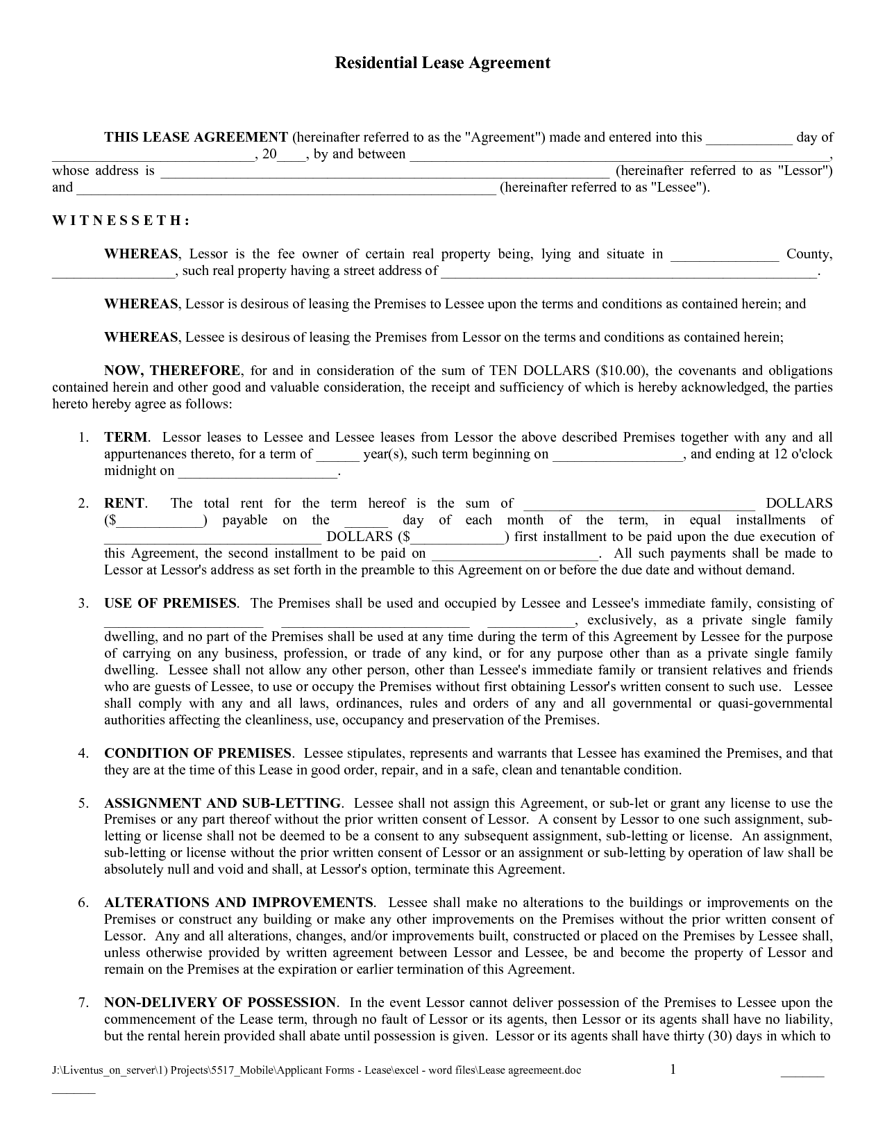 Free Copy Rental Lease Agreement – Sample Blank Lease Agreement