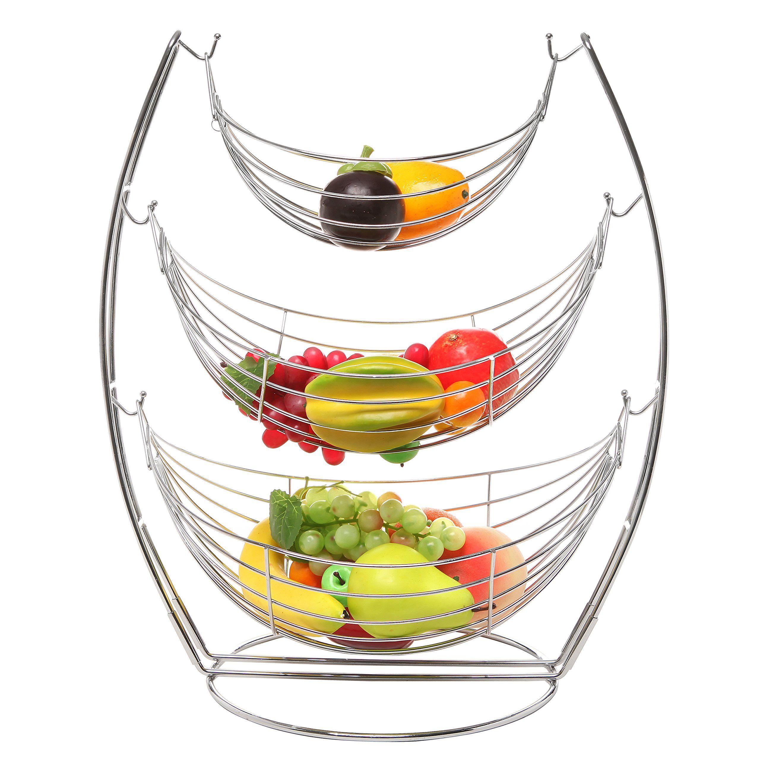 3 tier chrome triple hammock fruit   vegetables   produce metal basket rack display stand   3 tier chrome triple hammock fruit   vegetables   produce metal      rh   pinterest
