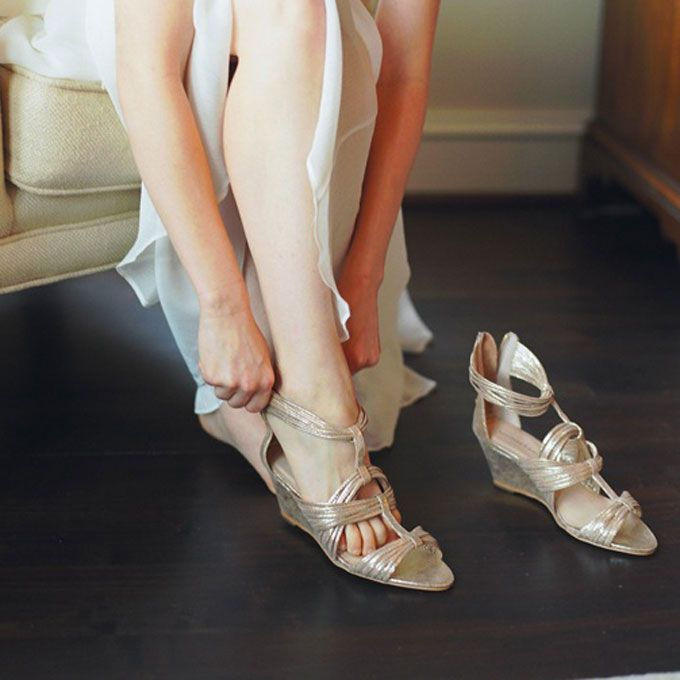 Behold Some Major Beach Wedding Inspiration With These Metallic Bow Tied And Bedazzled Sandals