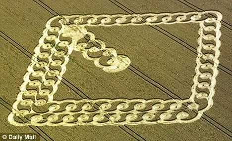 Mysterious: A rectangular shape was left in crops in East Field, Wiltshire, England in 2003.