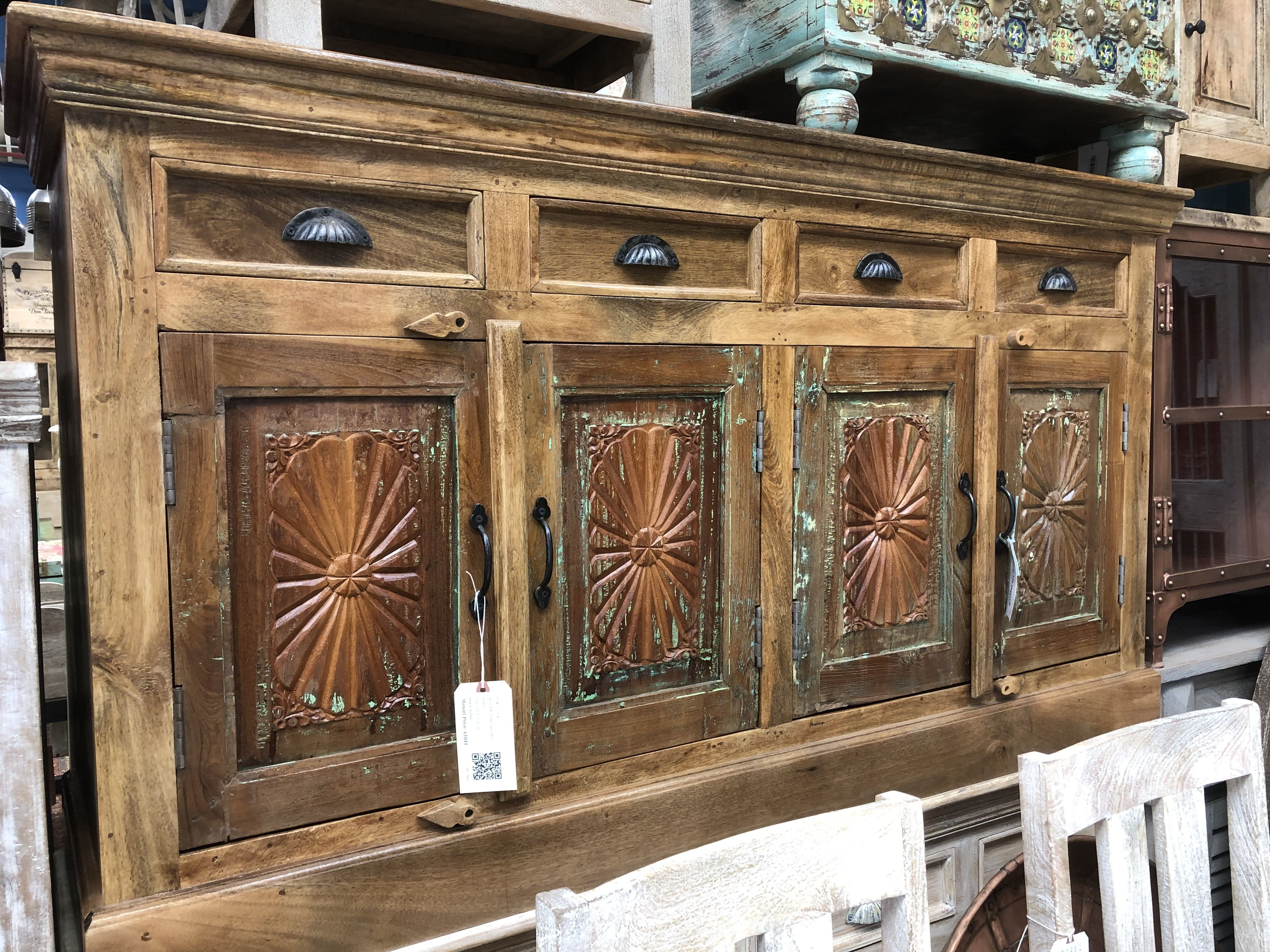 When You Re Beautiful You Know It Carved Solid Wood Sideboard Drawers Doors A One Of A Solid Wood Sideboard Rustic Wood Furniture Boho Furniture