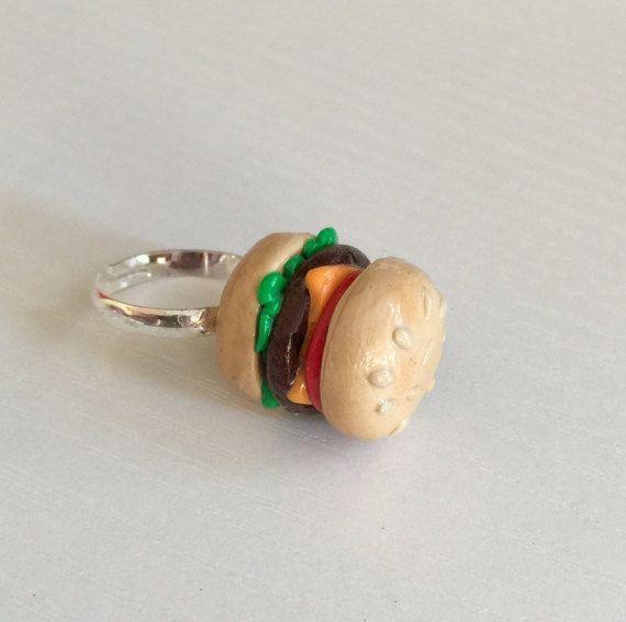 Hamburger Ring, CheeseBurger Ring, Clay Food Jewelry ...