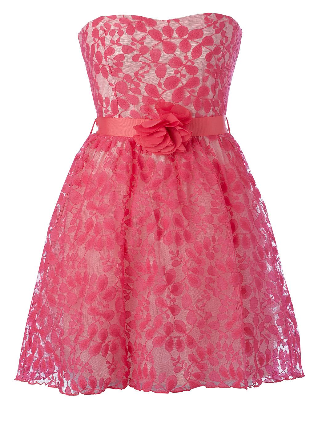 Formal dresses for girls bright pink flower lace prom dress