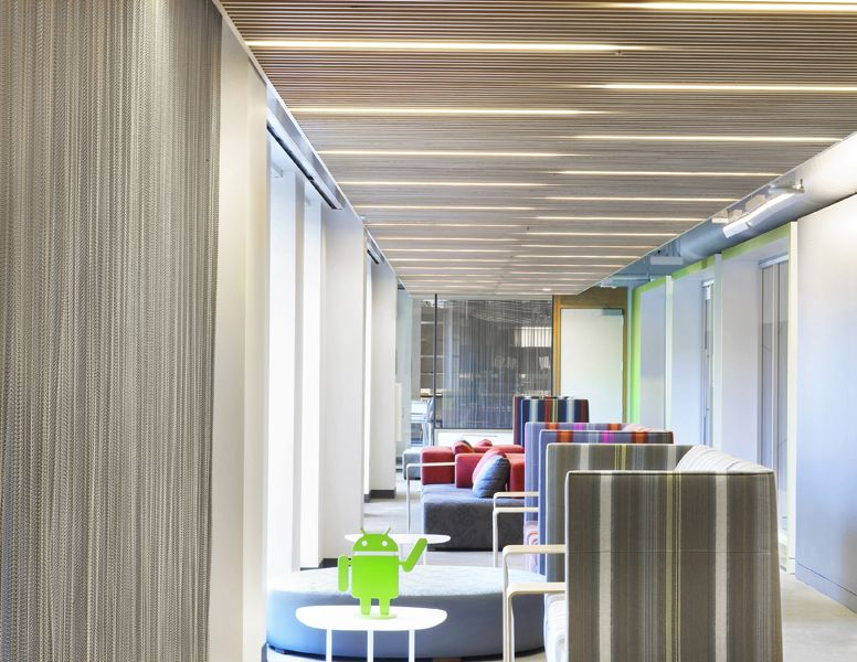 google tel aviv officeview. Cascade Coil Metal Curtains Helping Keep The Break Room Cool At San Francisco, California Google Tel Aviv Officeview E