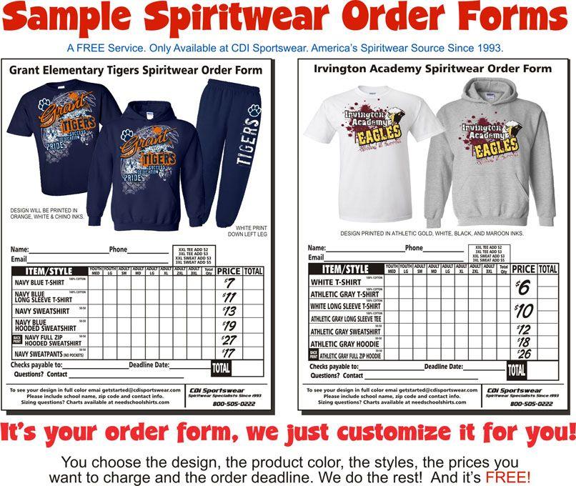 Sample Spirit Wear Order Form