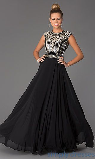 8cad1774ef1b Beaded Long Cap-Sleeve Formal Prom Dress by Jovani | Everything ...