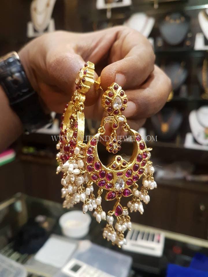 871c69645 Gold Plated Silver Chandbali Earrings, Gold Plated Ruby Chandbali Earrings,  Antique Ruby Chandbali Earrings.