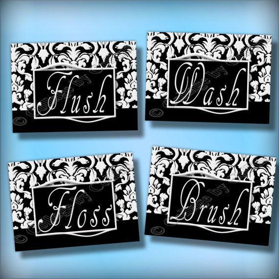 Black and White DAMASK Bathroom Art Wall Decor Prints Wash Floss ...