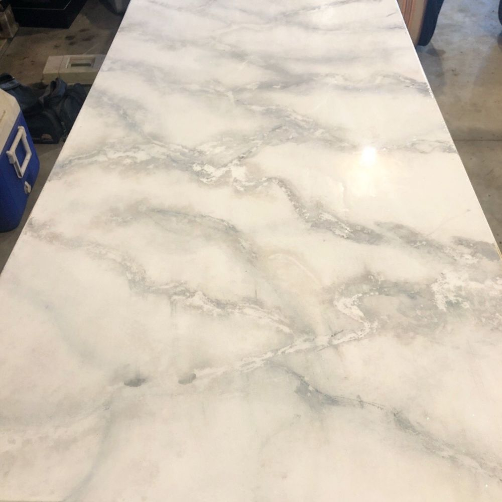 How to Make a Faux Marble Top Table DIY   Faux marble dining table ...