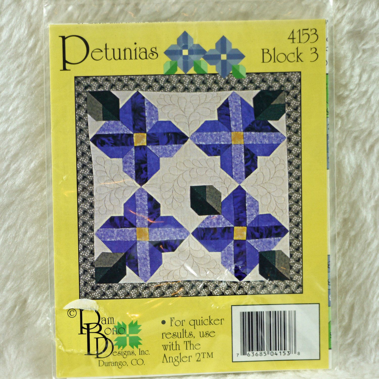 Two Quilt Block Patterns Pam Bono Designs 2000s Petunias 4153
