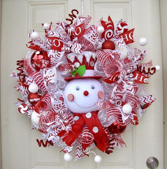 Raz Peppermint Snowman Christmas Wreath Christmas Wreath Holiday Wreath Deco Mesh Wreath Front Door Wreath Christmas Mesh Wreaths Deco Mesh Christmas Wreaths Holiday Mesh Wreaths