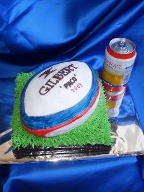 """tarta de balón de rugby """"gilbert"""" para paco."""