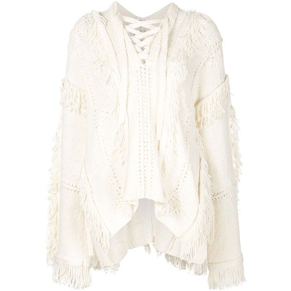 3.1 Phillip Lim Fringed Poncho ($745) ❤ liked on Polyvore featuring outerwear, white, 3.1 phillip lim, long sleeve poncho, white poncho and fringe poncho