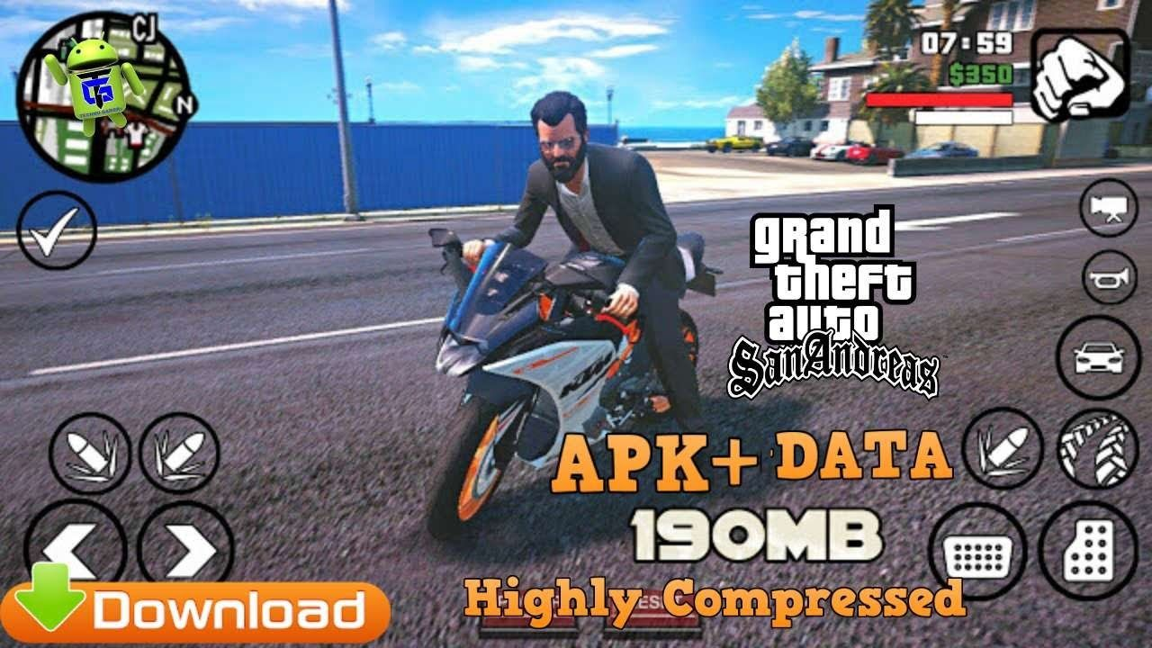 Gta San Andreas Apk Data 190mb Highly Compressed Download Game Gta 5 Online San Andreas Game Gta