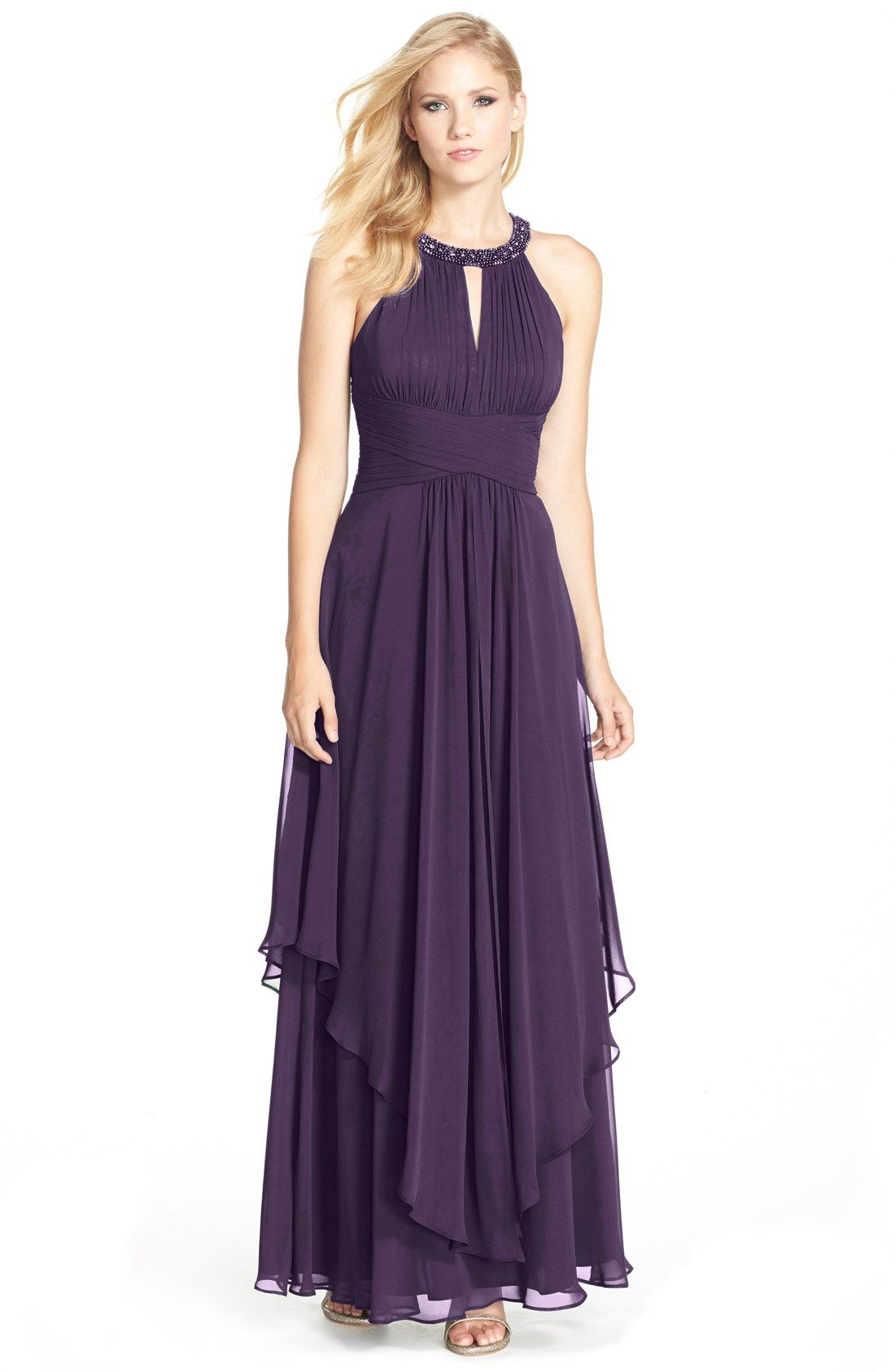 91d1aee27c44 Free shipping and returns on Eliza J Embellished Tiered Chiffon Halter Gown  at Nordstrom.com. An opulently embellished halter neckline anchors the  ruched ...