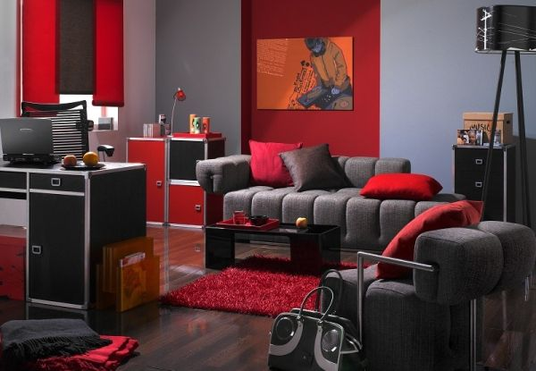 Pop art design for living room with grey sofa and red wall for Grey and red living room ideas