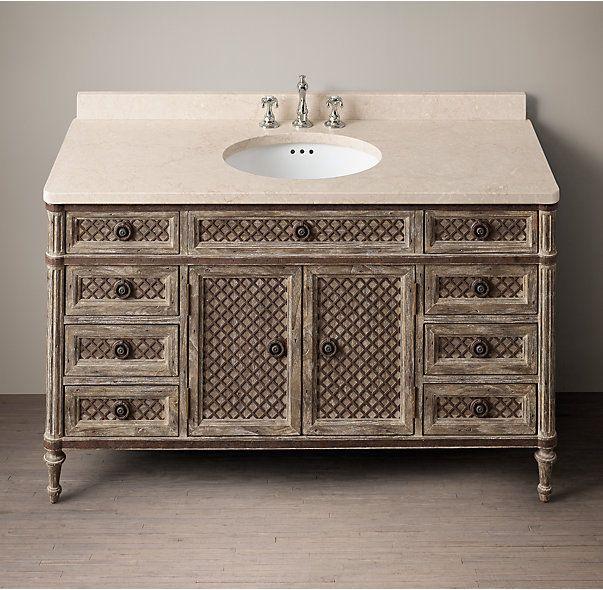 Louis XVI Treillage Extra-Wide Single Vanity Sink