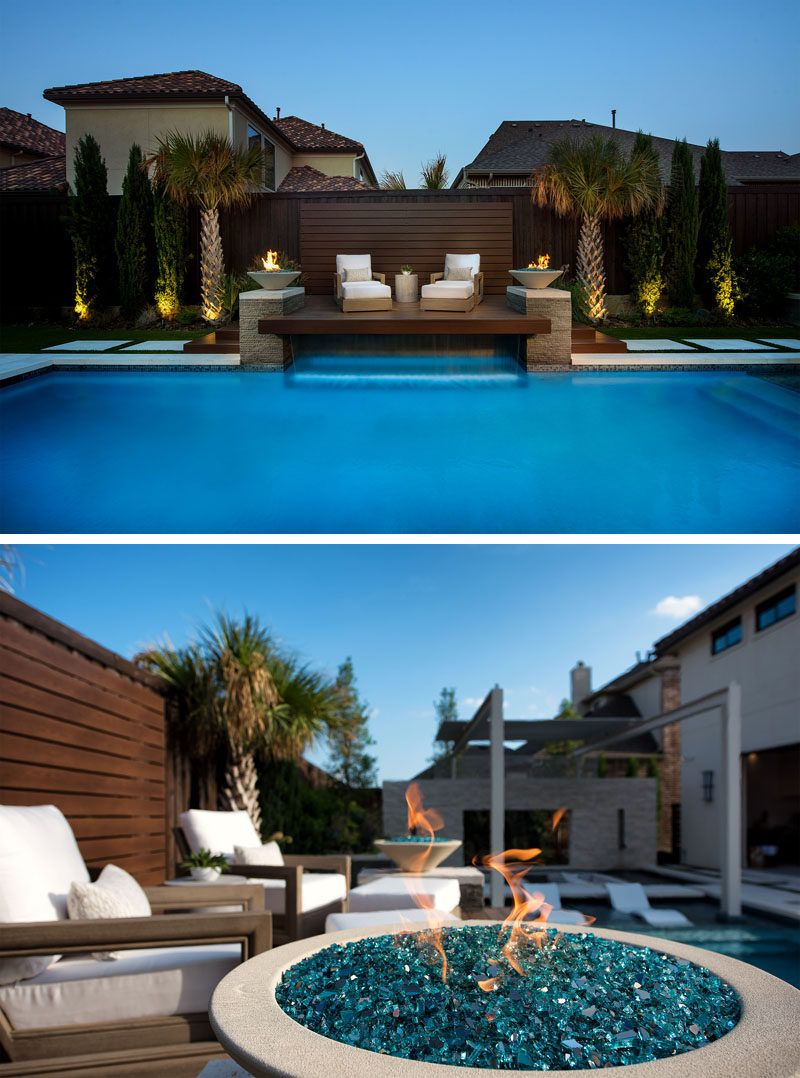 A Sunken Lounge A Cantilevered Deck And A Spa With A Fireplace Help Give This Pool A Luxurious Resort Like Feeling Modern Pools Dream Pool Area Pool Cabana