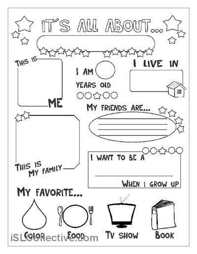 All About Me Worksheet Worksheet Pinterest Worksheets Social