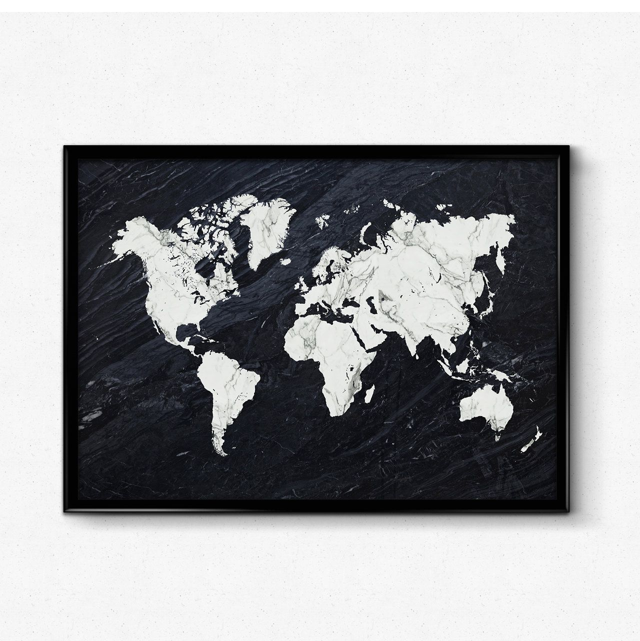 Black marble world map print world map wall art marble print black marble world map print world map wall art marble print black and white map art poster maps as art map print by hamptydamptyart on etsy gumiabroncs Choice Image