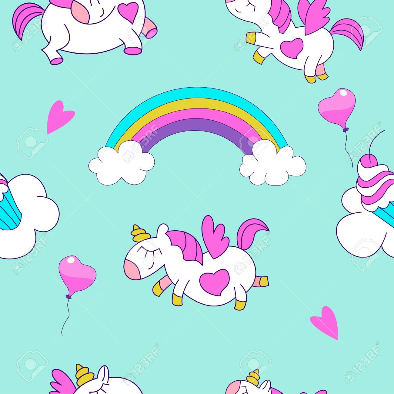 Seamless Pattern With Cute Magical Unicorns Vector Illustration