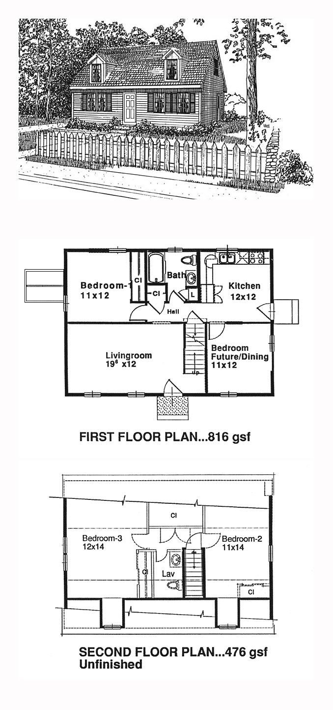 Cape Cod Style House Plan 94004 With 3 Bed 2 Bath Cape Cod House Plans Loft Floor Plans Cape Cod Style House