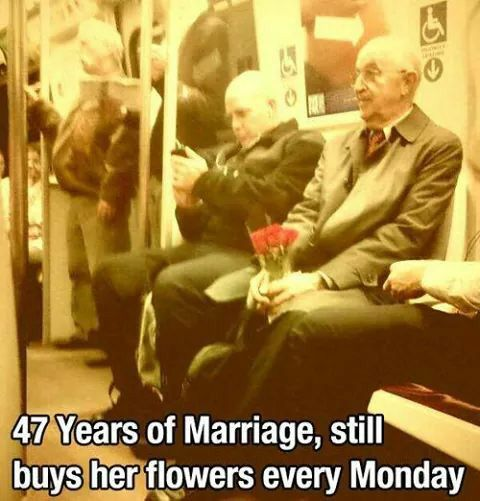 47 years of marriage and he still buys her flowers every Monday